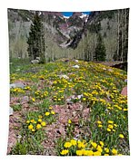 Spring Dandelion And Mountain Landscape Tapestry
