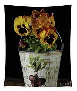 Spring Pansy Flowers In A Pail Tapestry