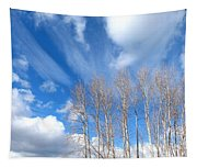 Spring Sky And Cotton Trees Tapestry