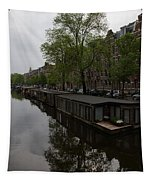 Springtime Amsterdam - Boathouses And Miniature Gardens Tapestry