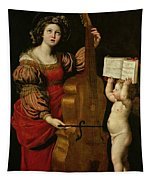 St. Cecilia With An Angel Holding A Musical Score Tapestry