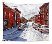 St Henri Depanneur Canadian Paintings Mini Montreal Masterpieces For Sale Petits Formats A Vendre  Tapestry