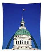 St Louis City Hall With Arch In Background Tapestry