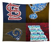 St Louis Sports Fan Recycled Vintage Missouri License Plate Art Cardinals Blues Rams Tapestry