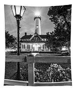 St. Simons Lighthouse Black And White Tapestry