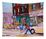 St. Viateur Bagel With Boys Playing Hockey Tapestry