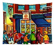 St. Viateur Bagel With Hockey Tapestry