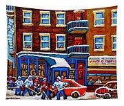 St Viateur Bagel With Hockey Montreal Winter Street Scene Tapestry
