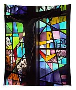 Stained Glass With Crucifix Silhouette Tapestry