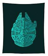Star Wars Art - Millennium Falcon - Blue 02 Tapestry