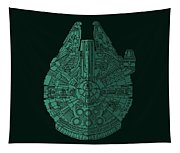 Star Wars Art - Millennium Falcon - Blue Green Tapestry
