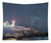 Starry Sky Of The Nubble Light In York Me Cape Neddick Tapestry