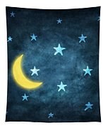 Stars And Moon Drawing With Chalk Tapestry