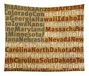 State Names American Flag Word Art Red White And Blue Tapestry