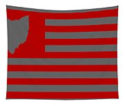 State Of Ohio - American Flag Tapestry