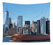 Staten Islan Ferry With Nyc Skyline Tapestry