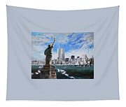 Statue Of Liberty And Tween Towers Tapestry