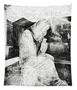Statue Of Weeping Woman, Lafayette Cemetery, New Orleans In Black And White Sketch Tapestry