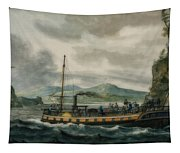 Steamboat Travel On The Hudson River Tapestry