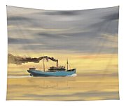 Steamship Freighter Heading Towards The Ocean Tapestry
