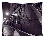 Steel Bridge Chicago Black And White Tapestry