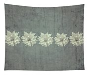 Steely Gray Rustic Flower Row Tapestry