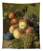 Still Life Of Peaches  Grapes And Plums On A Stone Ledge With A Bird And Butterfly Tapestry