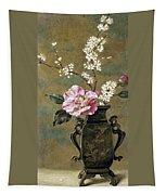Still Life Of Pink Roses Tapestry