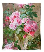 Still Life Of Roses In A Glass Vase  Tapestry