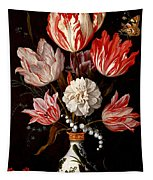 Still Life Of Variegated Tulips In A Ceramic Vase With A Wasp A Dragongly A Butterfly And A Lizard Tapestry
