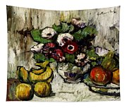 Still Life With Anemones And Fruit Tapestry