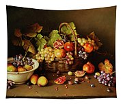 Still Life With Basket And Pomegranate Tapestry