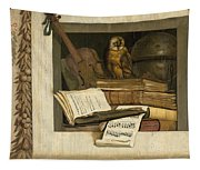 Still Life With Books Sheet Music Violin Celestial Globe And An Owl Tapestry