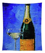 Still Life With Champagne Bottle And Glass Tapestry