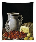 Still Life With Cherries  Cheese And Greengages Tapestry