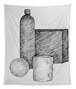Still Life With Cup Bottle And Shapes Tapestry