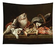 Still Life With Fishes, A Crab And Oysters Tapestry
