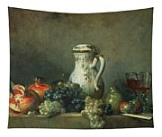 Still Life With Grapes And Pomegranates Tapestry