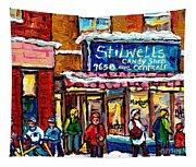 Stilwell's Candy Shop Montreal Memories Lasalle Verdun Winter City Scene Hockey Art Carole Spandau   Tapestry