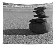 Stone Balance On The Beach In Monochrome Tapestry