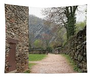 Stone Building Wall And Fence Tapestry
