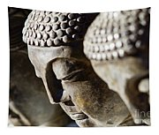 Stone Carved Buddha Faces Tapestry