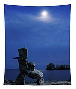 Stone Figure In Moonlight Tapestry