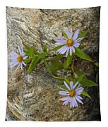 Stone Flowers Blue Tapestry