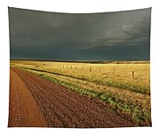 Storm Clouds Along A Saskatchewan Country Road Tapestry