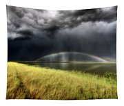Storm Clouds And Rainbow Over Chaplin Lake Marshes Tapestry