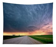 Storm Clouds Over Saskatchewan Country Road Tapestry