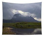 Storm Clouds Passing Across Suilven  And Fion Loch Near Ullapool Ross And Cromarty Scotland Tapestry