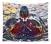 Straight Ahead Wood Duck Tapestry