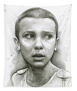 Stranger Things Eleven Upside Down Art Portrait Tapestry